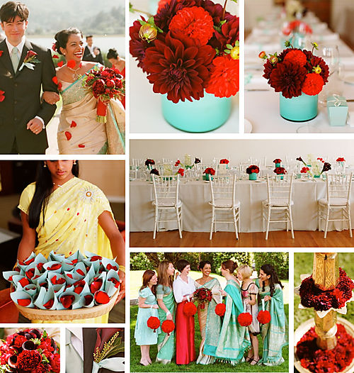 This wedding theme is called Aqua Poppy and features beautiful red dahlias