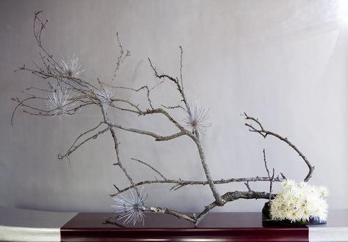 Modern christmas tree ikebana