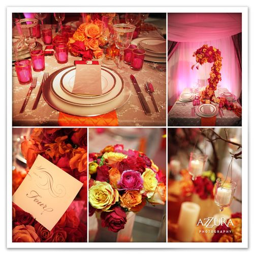 Floral Design Green Wedding Service Beautiful hot pink and orange