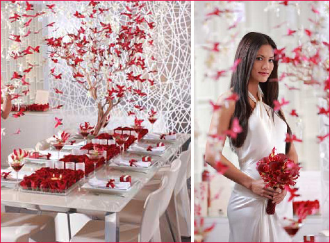 Check out this fantastic red, white, and butterfly wedding from