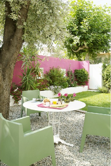 Pink and green outdoor patio