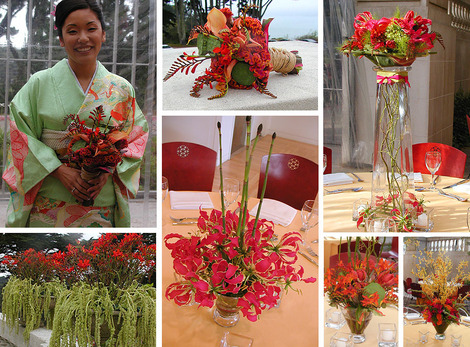 GlobalFlora Kimono inspired wedding in mint green red and orange